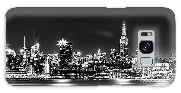 Empire State At Night - Bw Galaxy Case by Az Jackson