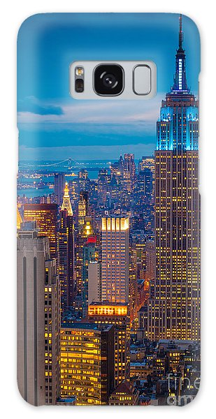 City Scenes Galaxy S8 Case - Empire State Blue Night by Inge Johnsson