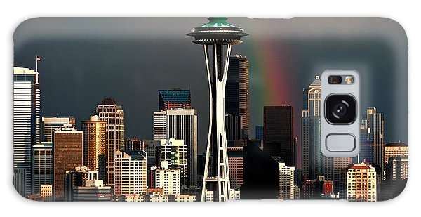 Seattle Skyline Galaxy S8 Case - End Of The Rainbow by Benjamin Yeager