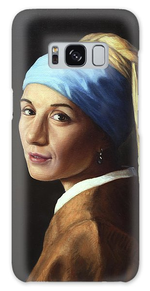 Vermeer Galaxy Case - Erika With A Pearl Earring by James W Johnson