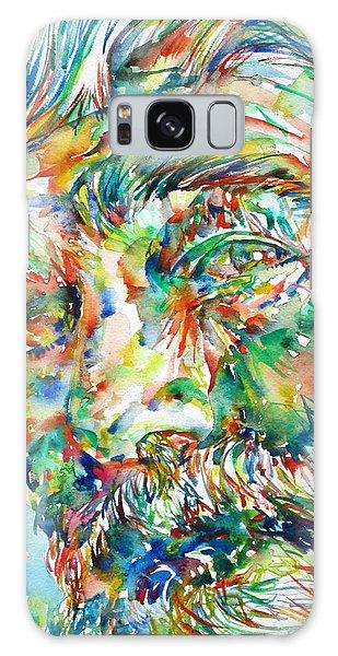 Ernest Hemingway Watercolor Portrait.1 Galaxy Case by Fabrizio Cassetta