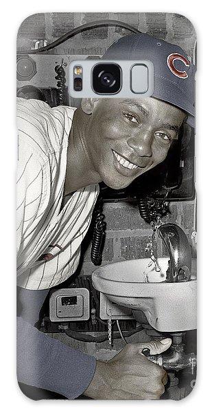 Ernie Banks At Cubs Water Fountain Galaxy Case by Martin Konopacki Restoration