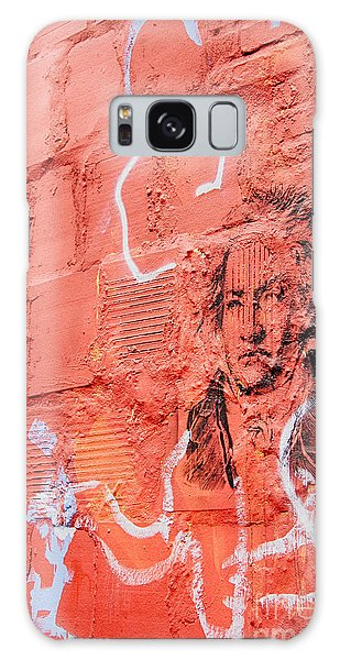 Etched Man On A Red Brick Wall Galaxy Case by Jim Lepard