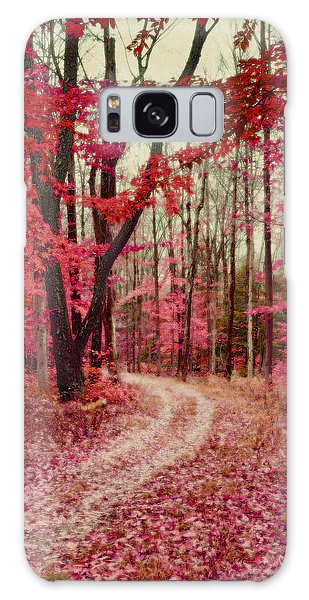 Ethereal Forest Path With Red Fall Colors Galaxy Case