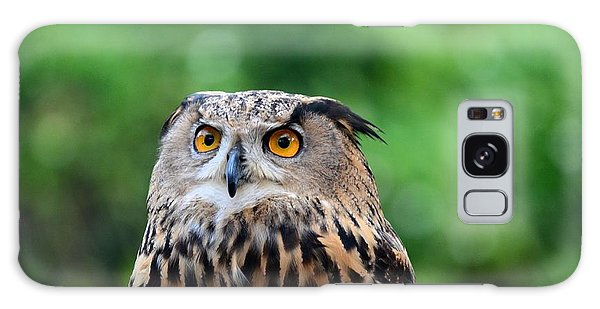 Eurasian Or European Eagle Owl Bubo Bubo Stares Intently Galaxy Case