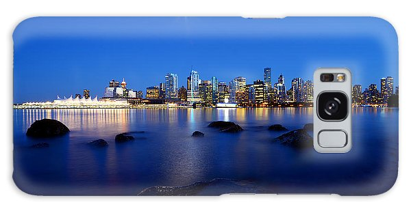 Evening Moon Over Vancouver Harbour 2 Galaxy Case