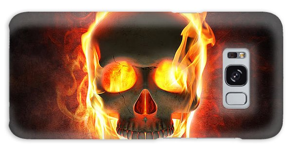 Magician Galaxy Case - Evil Skull In Flames And Smoke by Johan Swanepoel
