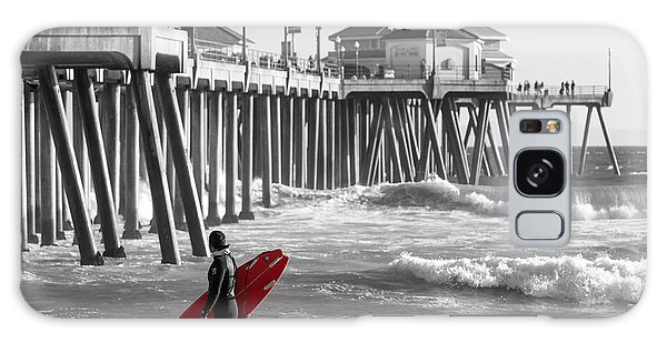 Existential Surfing At Huntington Beach Selective Color Galaxy Case