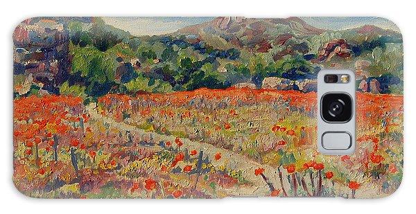 Expanse Of Orange Desert Flowers With Hills Galaxy Case