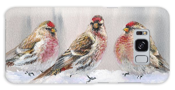 Snowy Birds - Eyeing The Feeder 2 Alaskan Redpolls In Winter Scene Galaxy Case