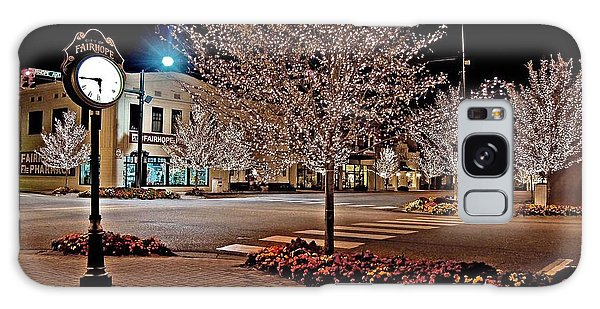 Fairhope Ave With Clock Night Image Galaxy Case