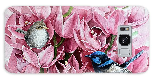 Fairy Wrens And Orchids Galaxy Case by Debbie Hart