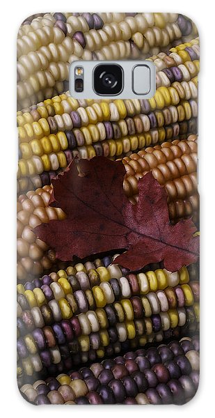 Indian Corn Galaxy Case - Fall Indian Corn With Leaf by Garry Gay