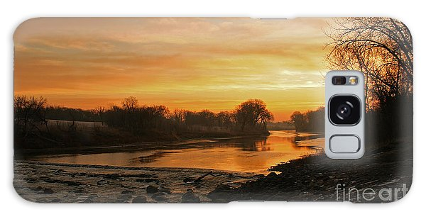 Fall Sunrise On The Red River Galaxy Case by Steve Augustin