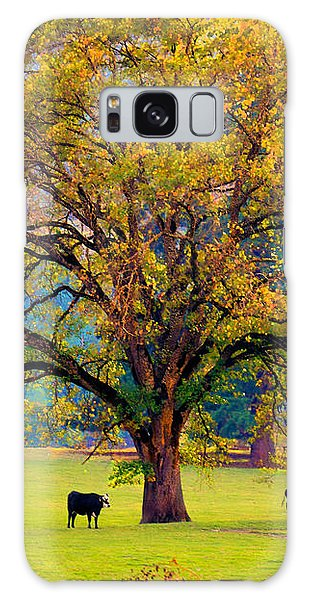 Fall Tree With Two Cows Galaxy Case