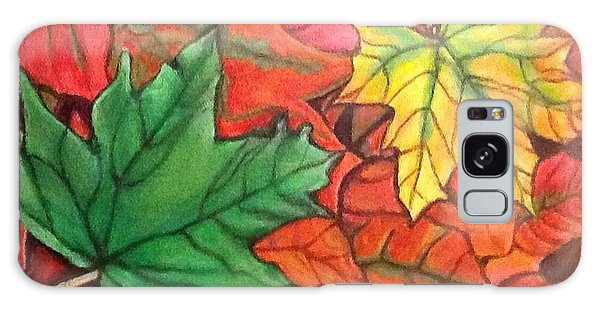 Falling Leaves 1 Painting With Quote Galaxy Case by Kimberlee Baxter