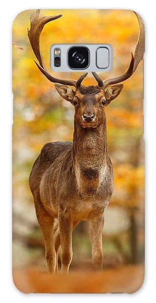 Fallow Deer In Autumn Forest Galaxy Case by Roeselien Raimond