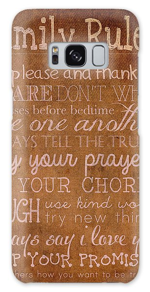 Whining Galaxy Case - Family Rules Words Of Wisdom On Worn Distressed Canvas by Design Turnpike