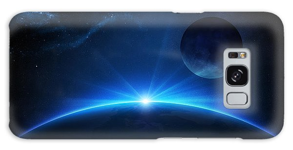 Bright Sun Galaxy Case - Fantasy Earth And Moon With Sunrise by Johan Swanepoel