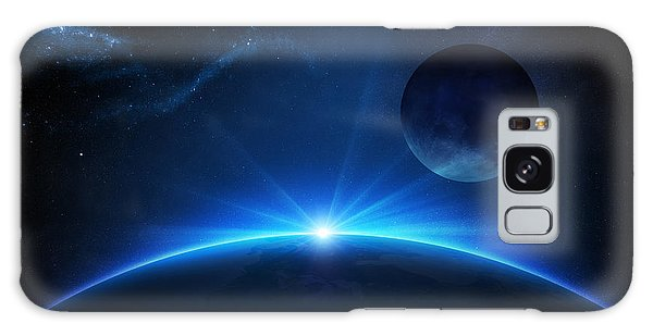 Sun Galaxy Case - Fantasy Earth And Moon With Sunrise by Johan Swanepoel