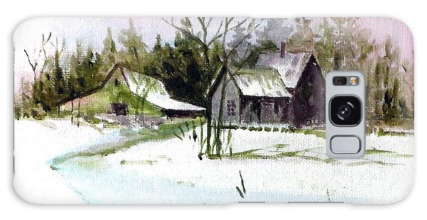 Farm House In The Snow Galaxy Case