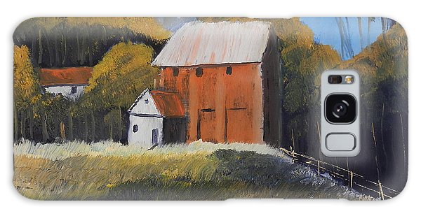 Farm With Red Barn Galaxy Case