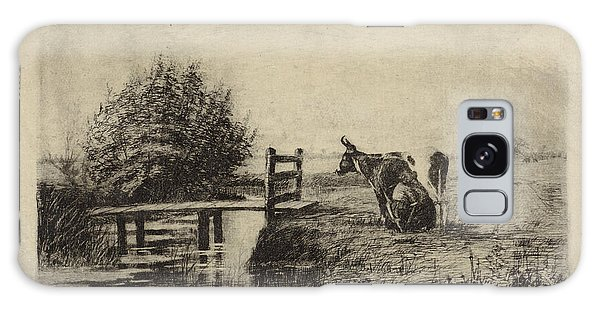 Pasture Galaxy Case - Farmer Milking A Cow In A Pasture, Elias Stark by Elias Stark
