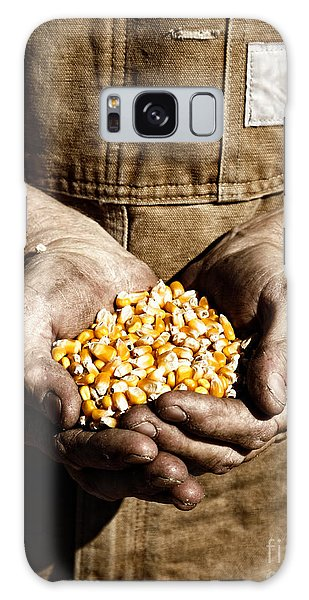 Farmer's Hands With Seed Corn Galaxy Case