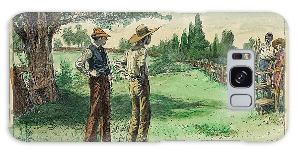 Fashion Plate Galaxy Case - Farmers In Pasture With Trees 1885 Hand Tinted Etching  by Pierpont Bay Archives