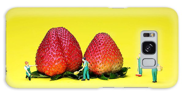 Farmers Working Around Strawberries Galaxy Case by Paul Ge
