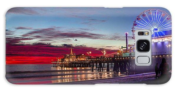 Ferris Wheel On The Santa Monica California Pier At Sunset Fine Art Photography Print Galaxy Case by Jerry Cowart