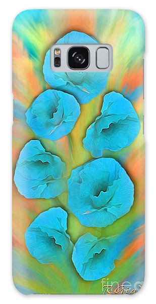 Feathered Turquoise Poppies Galaxy Case