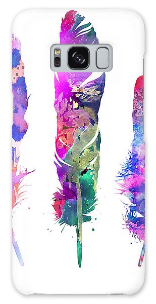 Feathers Galaxy Case - Feathers 3 by Watercolor Girl