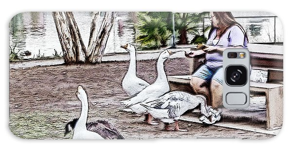 Feeding The Geese Galaxy Case by Photographic Art by Russel Ray Photos