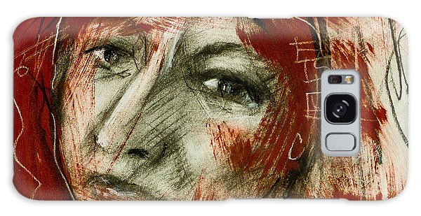 Female Head With Red Background Galaxy Case