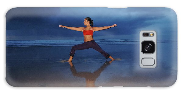 Breathe Galaxy Case - Female Performs Yoga On Beach by Peter McBride