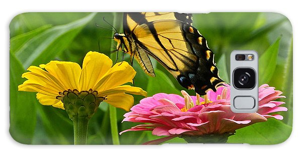 Female Tiger Swallowtail Butterfly With Pink And Yellow Zinnias Galaxy Case
