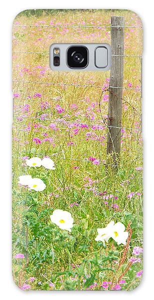 Fence Post And Flowers Galaxy Case by Audrey Van Tassell