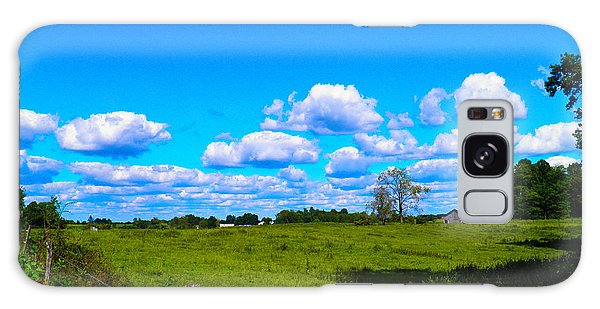 Fence Row And Clouds Galaxy Case by Nick Kirby
