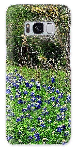 Fenced In Bluebonnets Galaxy Case by David and Carol Kelly
