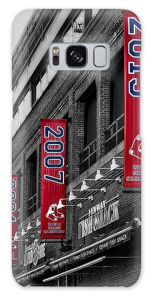 Galaxy Case featuring the photograph Fenway Boston Red Sox Champions Banners by Susan Candelario