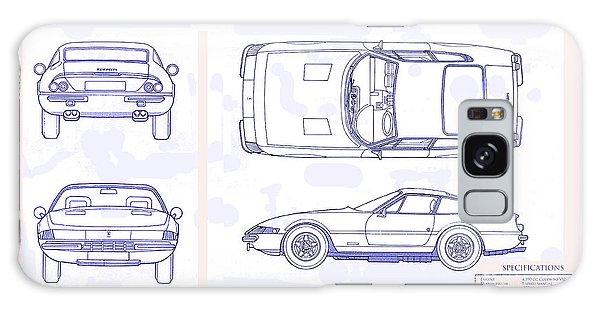 Blueprint Galaxy Case - Ferrari Daytona Blue Print  by Jon Neidert