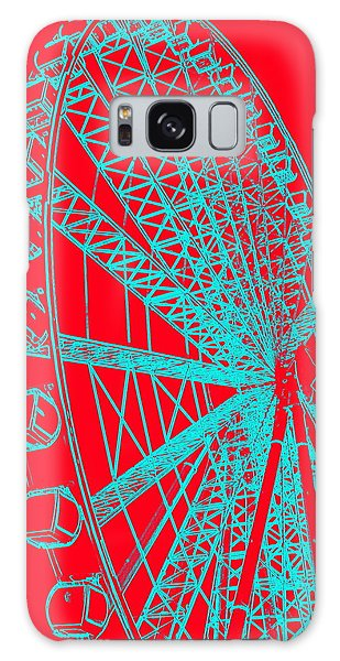 Ferris Wheel Silhouette Turquoise Red Galaxy Case