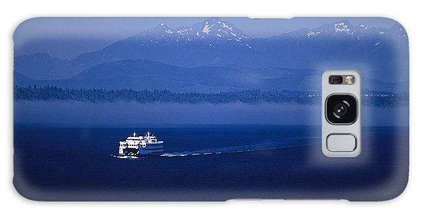 Ferry Boat In Puget Sound With Olympic Mountains Galaxy Case