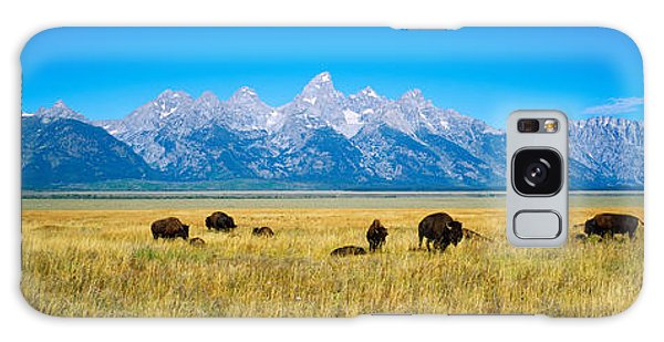 Teton Range Galaxy Case - Field Of Bison With Mountains by Panoramic Images