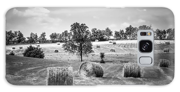 Field Of Hay In Black And White Galaxy Case