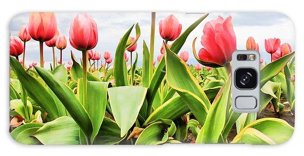 Field Of Pink Tulips Galaxy Case by Athena Mckinzie