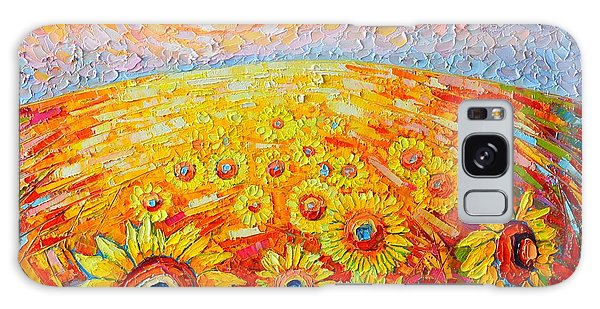 Fields Of Gold - Abstract Landscape With Sunflowers In Sunrise Galaxy Case