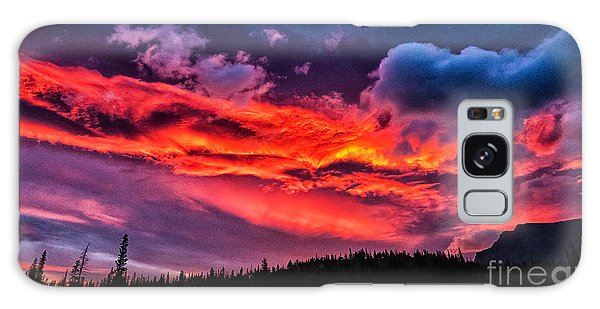 Fiery Sunrise At Glacier National Park Galaxy Case