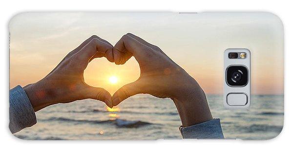 Framing Galaxy Case - Fingers Heart Framing Ocean Sunset by Elena Elisseeva